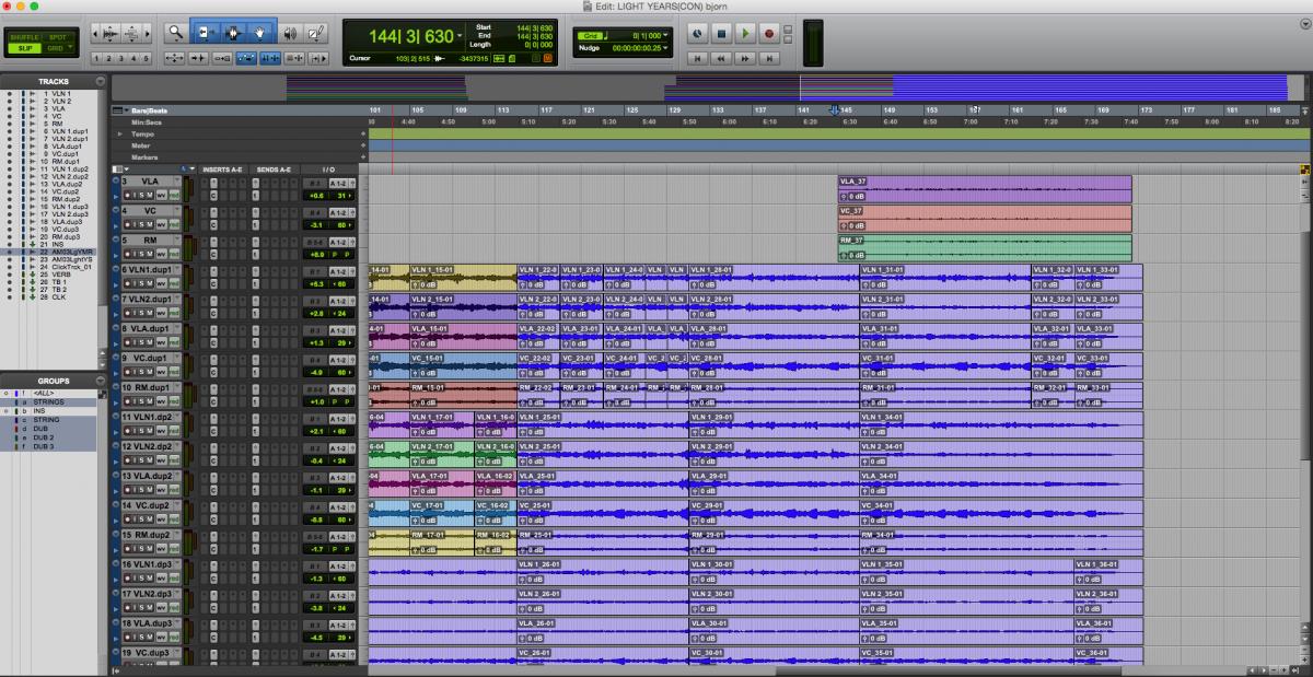 Light Years 스트링 녹음 프로툴즈 프로젝트