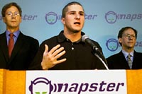 NAPSTER FOUNDER FANNING TALKS AT PRESS CONFERENCE